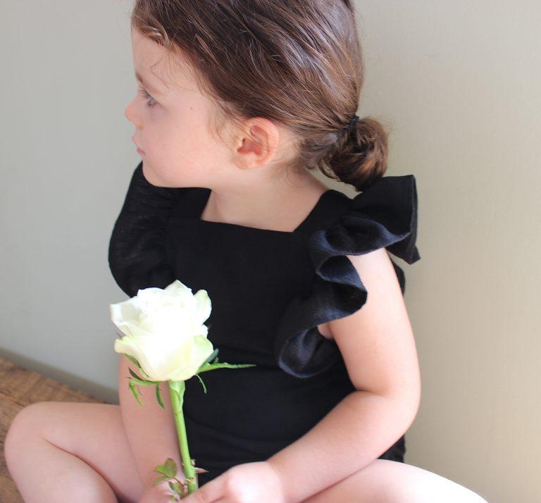 Frilled linen romper - organic children's clothing by Freya Lillie
