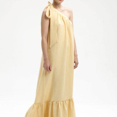 linen maxi dress lemon